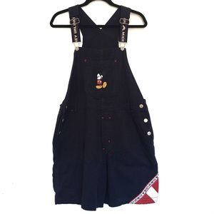 [DISNEY] Embroiderred Mickey Mouse denim overalls